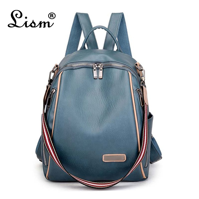 Women 's backpack 2020 spring new fashion wild quality soft leather leisure travel large capacity blue color bag purse