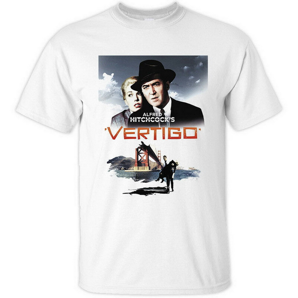 Vertigo V1 Alfred Hitchcock Movie Poster 1958 T-Shirt(WHITE) All Sizes S-5XL Festive Plus Size TEE Shirt image