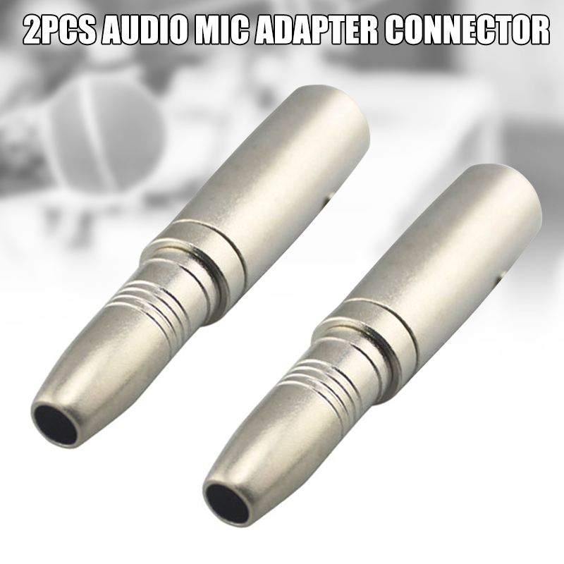 2 Pcs 6.5mm Female to 6.35mm Male Jack Audio Mic Adapter Connector Accessories @M23