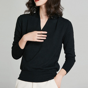 Image 4 - Вязаные топы с запахом, женский шерстяной кардиган, свитер с длинным рукавом, элегантный свитер с запахом