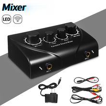 LEORY Professionale Karaoke Mixer Mini Microfoni Mixer Audio Amplificatore Metallo Console Mixer Digitale Mixer Suono Nero