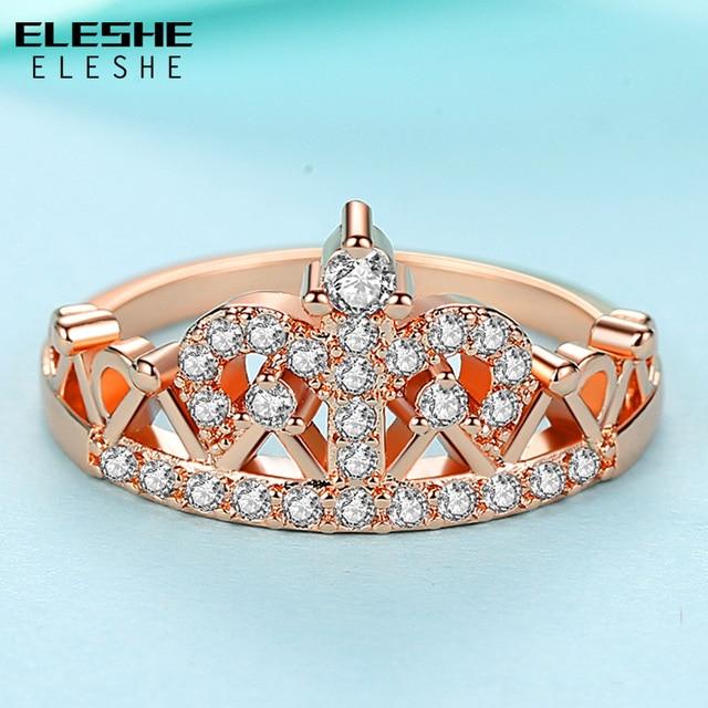 ELESHE nouveau luxe à la mode élégant couleur argent couronne anneaux pour les femmes mode étincelant cristal Zircon bague de fiançailles bijoux