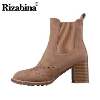 RIZABINA Ankle Boots For Women Real Leather Winter Warm Fur Casual Shoes Women Round Toe Daily Party Short Boots Size 34-40