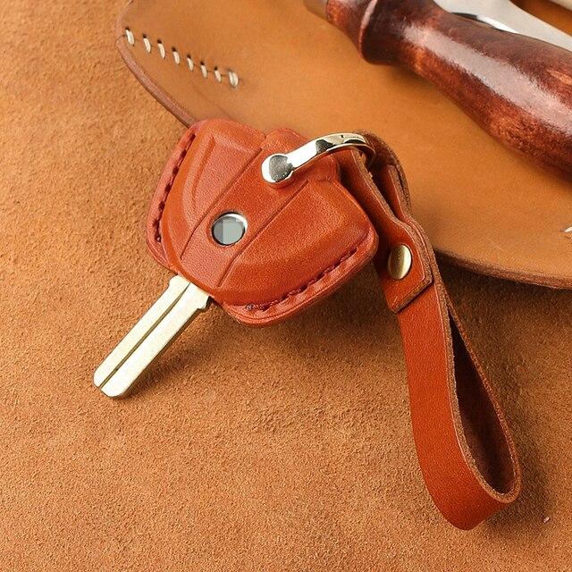 עור אמיתי מפתח מקרה Fob כיסוי מחזיקי מפתחות עבור BMW לאטה F800GS C400X R1200GS G310GS אופנוע KeyRing