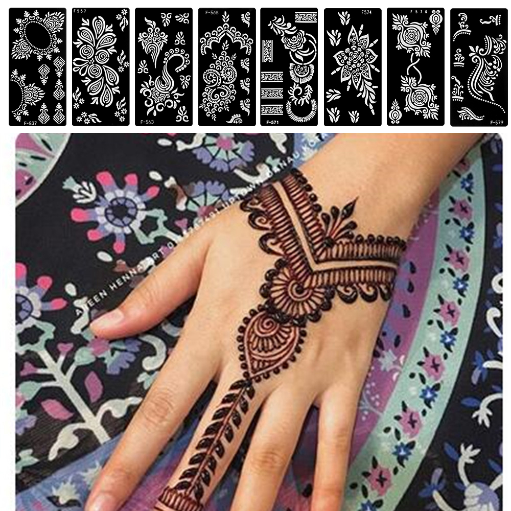 Random Style!Indian Henna Rose Lace Flower Tattoo Stencil DIY Body Legs Arm Art Airbrush Painting Women Tattoo Stencil Template