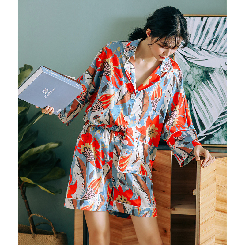 Summer Short Sleeve 2-Piece Pajamas Thin Loose-Fit Shorts Printing Sleepwear Womens Luxury Sexy Clothes Satin Sexy Home Clothes