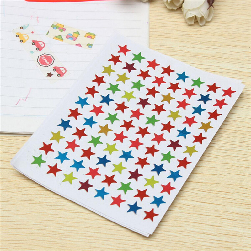 10pcs/bag Childern Gilding Reward Flash Sticker Mother Teacher Praise Label Award Five-pointed Star Stickers
