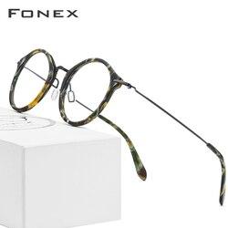 FONEX B титановая оправа для очков, женские винтажные круглые очки по рецепту, мужские очки для коррекции близорукости, ацетатные очки, 852