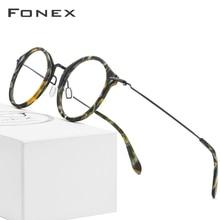 Fonex b armação de titânio ótica, armação para mulheres, vintage, redonda, óculos de grau para miopia, masculino, óculos de acetato 852