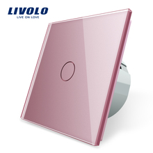 Livolo eu 標準ウォールライトタッチスイッチ、壁ホームスイッチ、クリスタルガラススイッチパネル、 220 250 v 、 corss 、調光器、ワイヤレス、カーテン