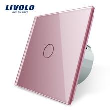 Livolo standard ue ścienny włącznik dotykowy światła, ścienny przełącznik domowy, panel sterowania z krystalicznego szkła, 220 250V,corss, ściemniacz, bezprzewodowy, kurtyna