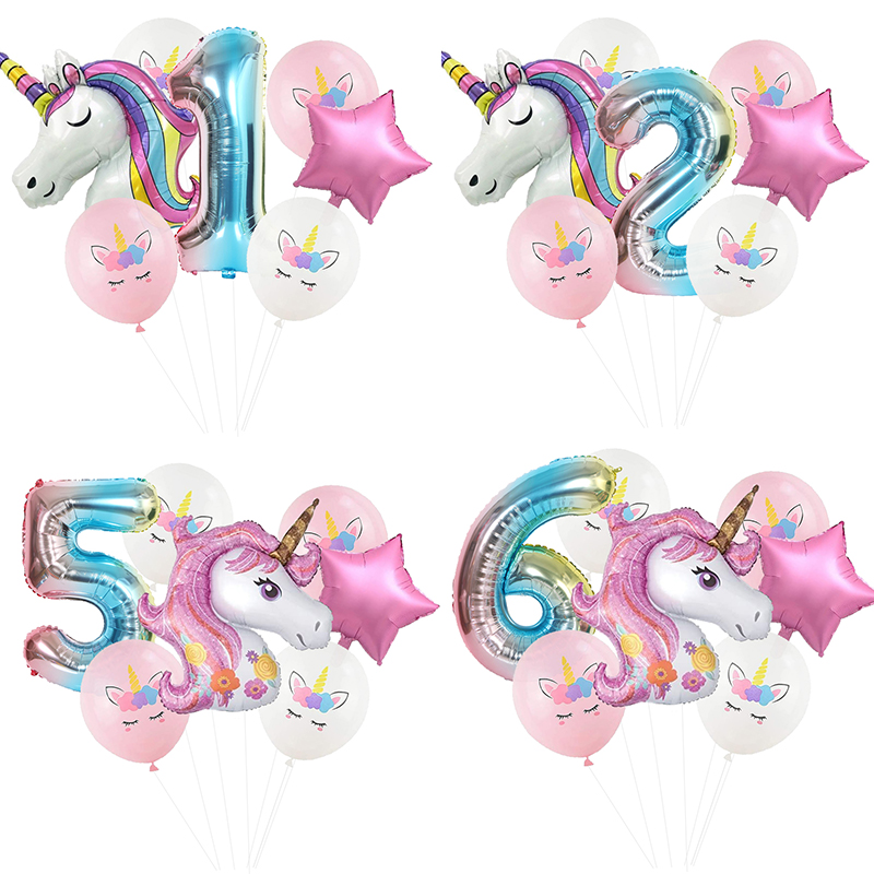 Rainbow Unicorn Balloon Ball Colorful Number Birthday Party Decorations Unicorn Party Birthday Balloons Decoration For Kids(China)