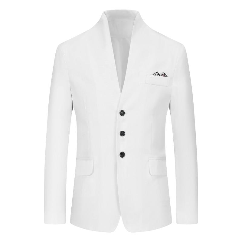 2020 ブランドメンズヴィンテージブレザーコート中国風のビジネスドレスブレザーカジュアルスタンドカラージャケット男性スリムフィットスーツジャケット