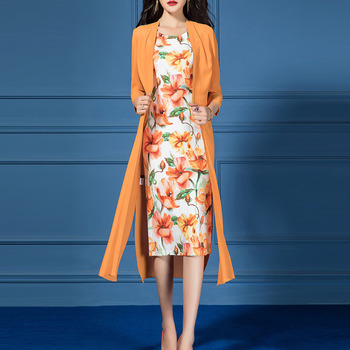 Dress Suit Women Long Chiffon Jacket and Floral Print Sleeveless Pencil Dress Two 2 Piece Set Elegant Spring Summer Fall Clothes stylish scoop neck floral print chiffon women s sleeveless dress