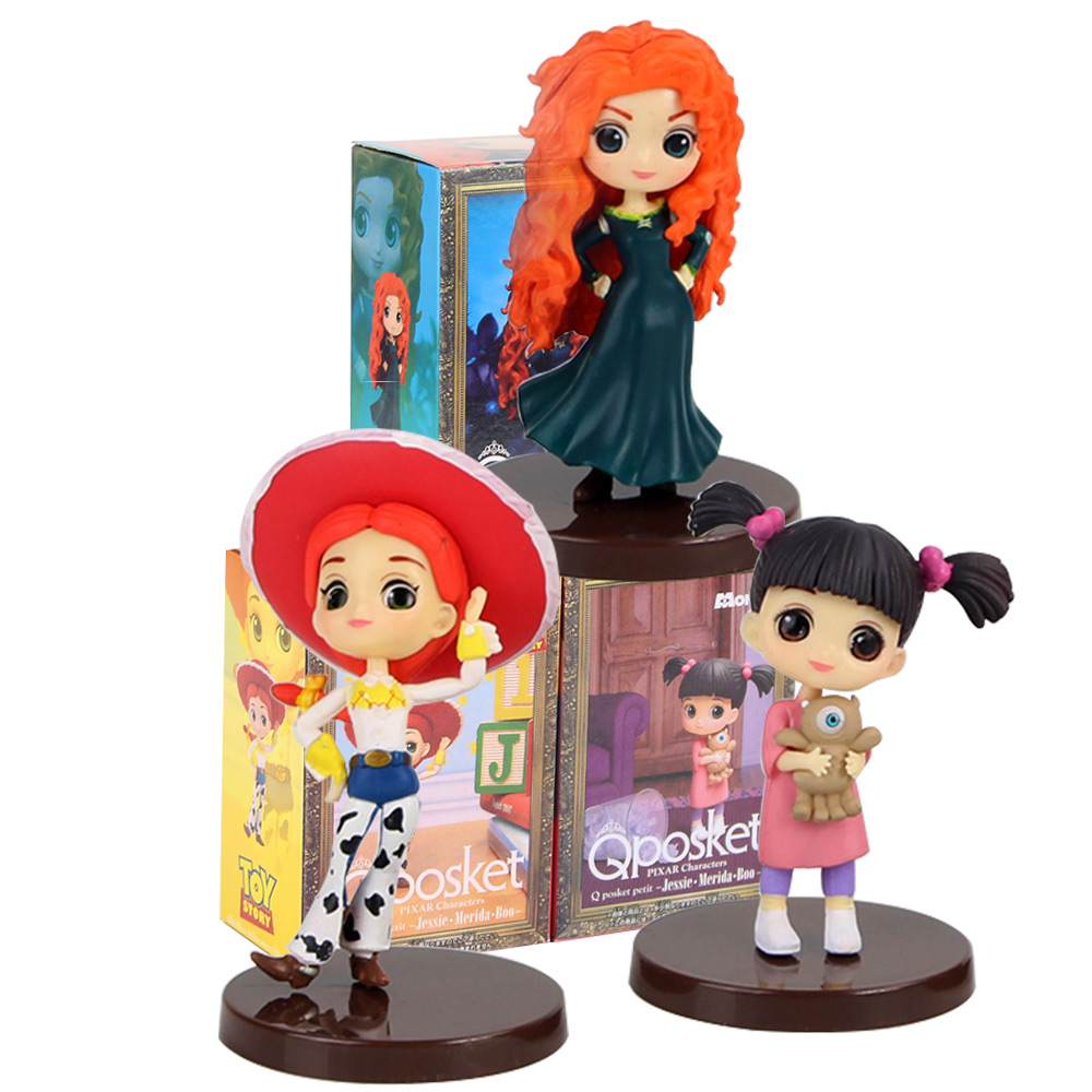 3pcs/set QPosket Princess Jessie Merida Boo Ariel Mermaid Tangled Rapunzel Belle Beauty Q Posket Model Dolls Action Figure Gift