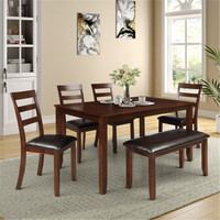 6pc Dining Set With 4 Ladder Chairs And Bench Espresso 4 Chairs And A Bench Beautifully Simple Dining Room Table Sets
