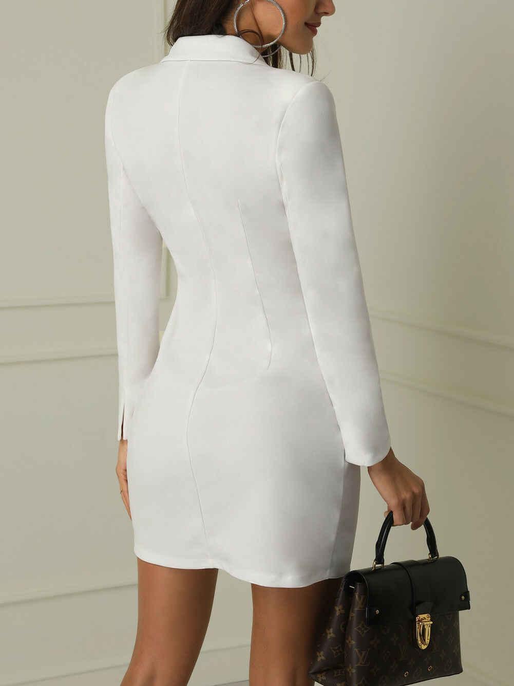 Elegante plissado dupla breasted mulheres vestido 2019 Outono inverno Escritório vestido casual branco blazer terno slim senhoras vestidos