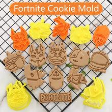 Fortnite-figuras de juego en 3d, cortador de moldes para galletas, molde de estampado postre manualidades con azúcar, molde para hornear para Sop, herramienta de decoración de pasteles