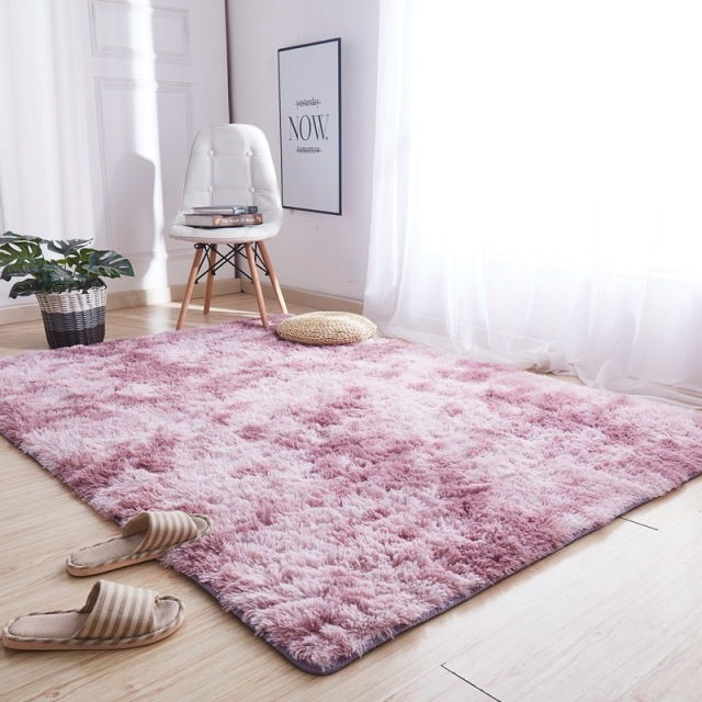 Tapis en peluche, teint en gris, doux, antidérapant, absorbant, pour sol de salon et chambre à coucher Tapis 🎁 Idées Cadeaux Cocooning.net