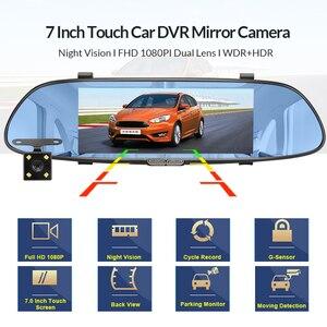 Image 2 - E ACE 7.0นิ้วรถDvrกระจกมองหลังTouch Dashกล้องบันทึกวิดีโอFHD 1080P Dualเลนส์ด้านหลังกล้องDashcam