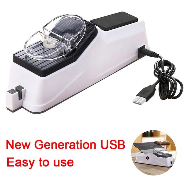 Afilador de cuchillos eléctrico USB, herramienta ajustable para cuchillos de cocina, tijeras, afilador blanco, hoja de molienda media y fina 5