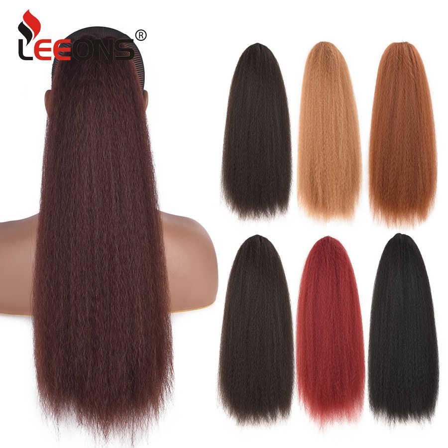 Hermosa extensión de cola de caballo rubia Afro Kinky Puff recta extensión de pelo resistente al calor cordón sintético pelo Cola de Caballo Leeons