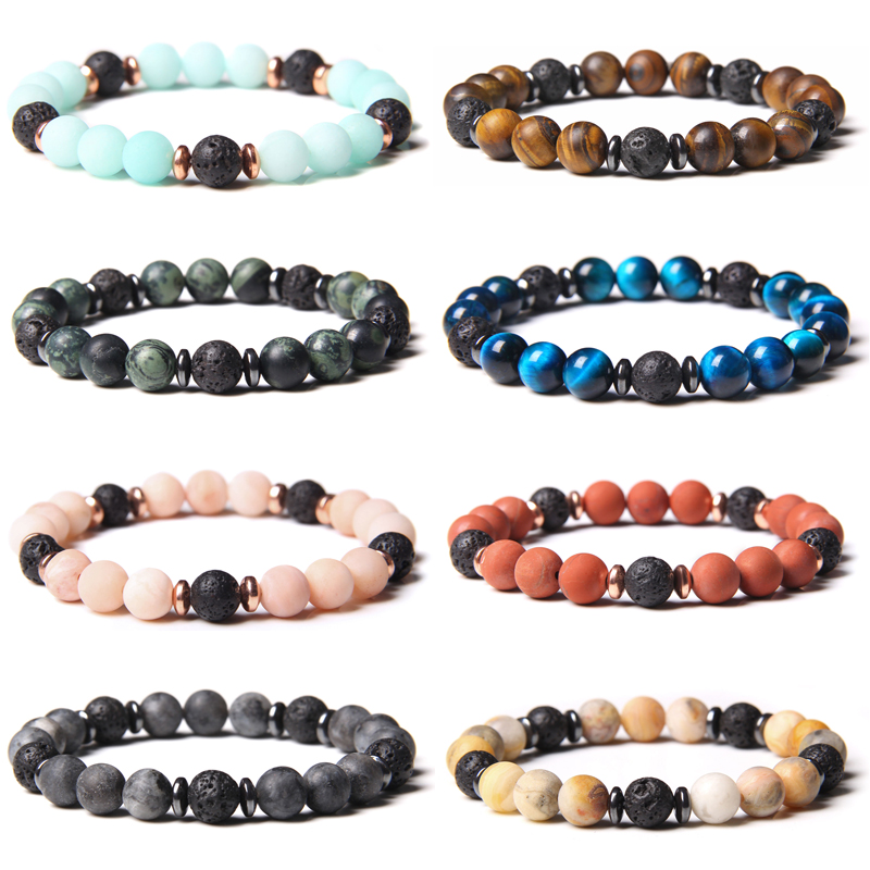 UFO Bracelets Men Stone Beads Bracelet Natural Energy Tiger Eye Bangle Prayer Buddhism Black Lava Stone Pulsera Women Jewery(China)