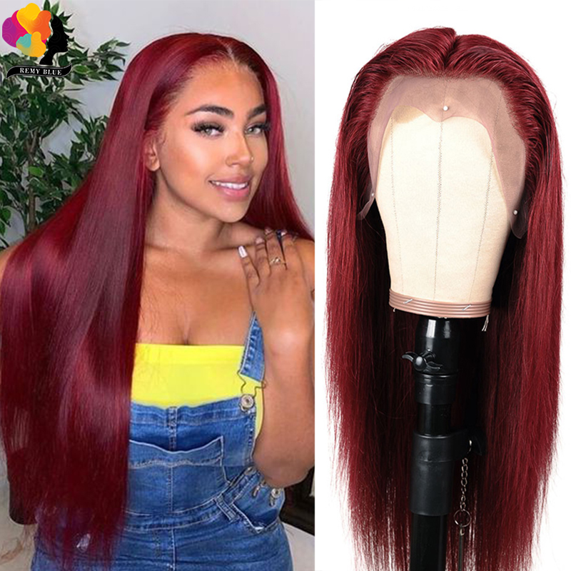 Remyblue #99J Red Burgundy Lace Front Human Hair Wigs Straight Brazilian Remy Human Hair Wigs 150 Pre-Plucked Lace Front Wig