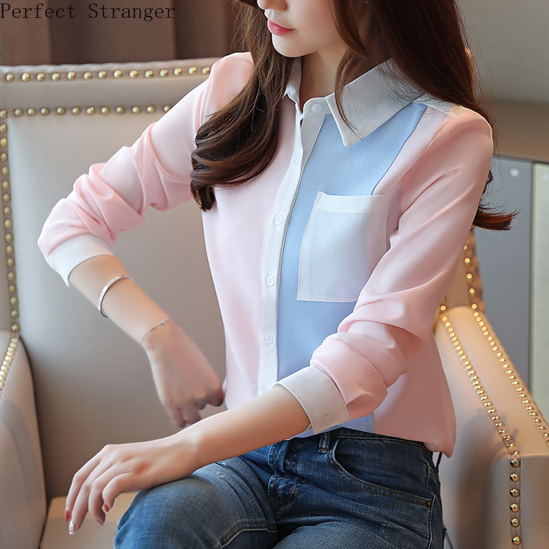 2019 Autumn New Arrival Leisure Turn-down Collar Color Block Long Sleeve Woman Chiffon Blouse