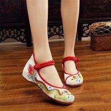 Vintage chino étnico dragón bordado de lona de las mujeres zapatos casuales correa de tobillo punta redonda cuñas bombas Mary Jane zapatos de mujer