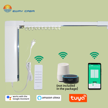 EWAY CASA Alexa Google Home font b Tuya b font Motorized WiFi Curtain Track Automatic