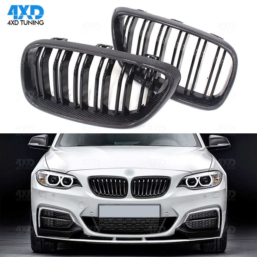 Carbon Fiber Bumper grill For BMW F22 M-sport F23 F87 M2 Coupe Convertible Front Lip Grille 2014 2015 2016 2017 2018 2019 image