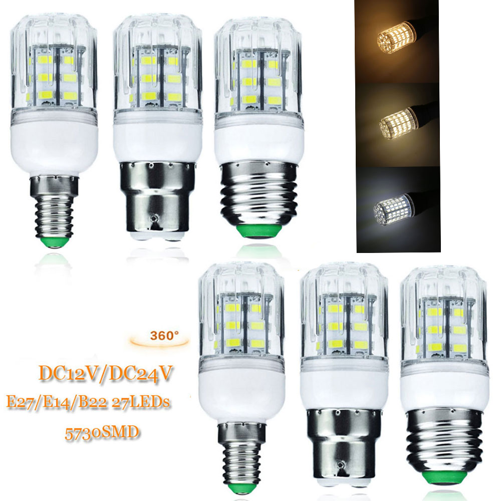 LED Corn Lamp Bulb Light E27 B22 GU10 G9 E14 27LEDs 7W 5730 SMD LED Spotlight No Flicker Chandelier Lights