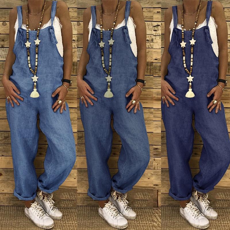 ZANZEA Women Jumpsuits Summer Rompers Casual Dungarees Combinaison Cotton Linen Harem Pants Bib Overalls Female Straps Playsuits