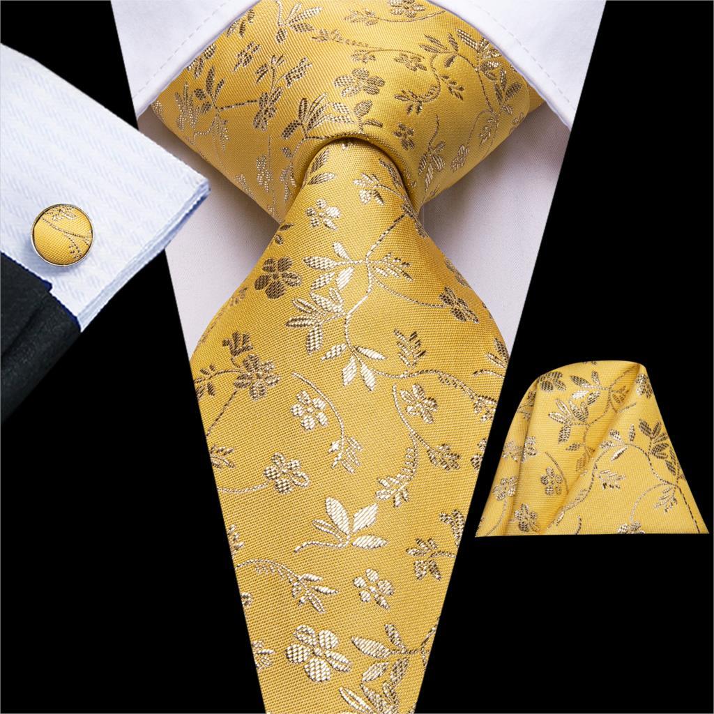 Hi-Tie New Luxury Floral Tie Set For Men Silk Men's Ties Gold Yellow Large Ties For Men Tie Hanky Cufflinks Set Long Men's Ties