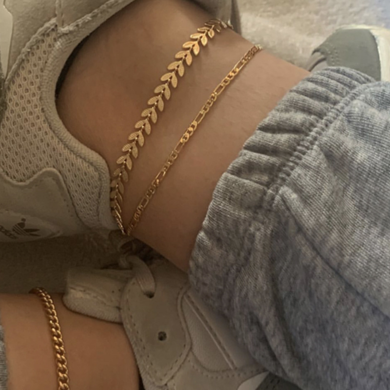 Gold Leaves Anklets for Women Foot Beach Barefoot Sandals Ankle Bracelet on the leg Female 3 Layers Ankle Jewelry