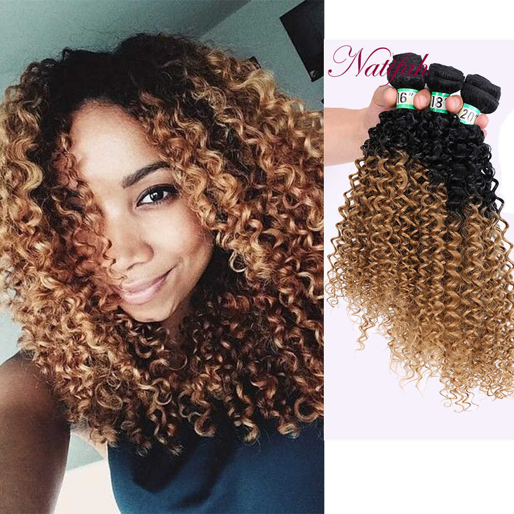Natifah Ombre Kinky Curly Hair Bundles 16 18 20 inch Curly Hair Weaving Bundles 70g/pcs Synthetic Hair Bundles