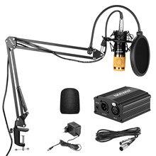 Neewer NW-800 condensador microfone kit-mic, 48v fantasma fonte de alimentação, boom scissor braço suporte + montagem de choque, xlr macho para fêmea
