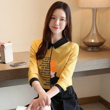 Women Blouse Chiffon Shirt Streetwear Letter Printed 2019 New Long Sleeve Top korean Fashion voile 936H6