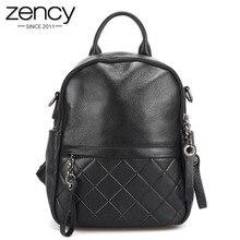 Zency mochila de piel auténtica para mujer, de piel auténtica morral, color negro elegante, para uso diario, de viaje, informal, escolar, gris