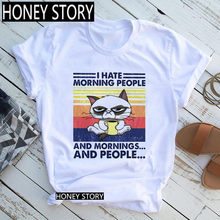 Girls Summer Short Sleeve Tops Tee Women's Camping Cat I Hate Morning People and Mornings and People Funny Print T-shirt