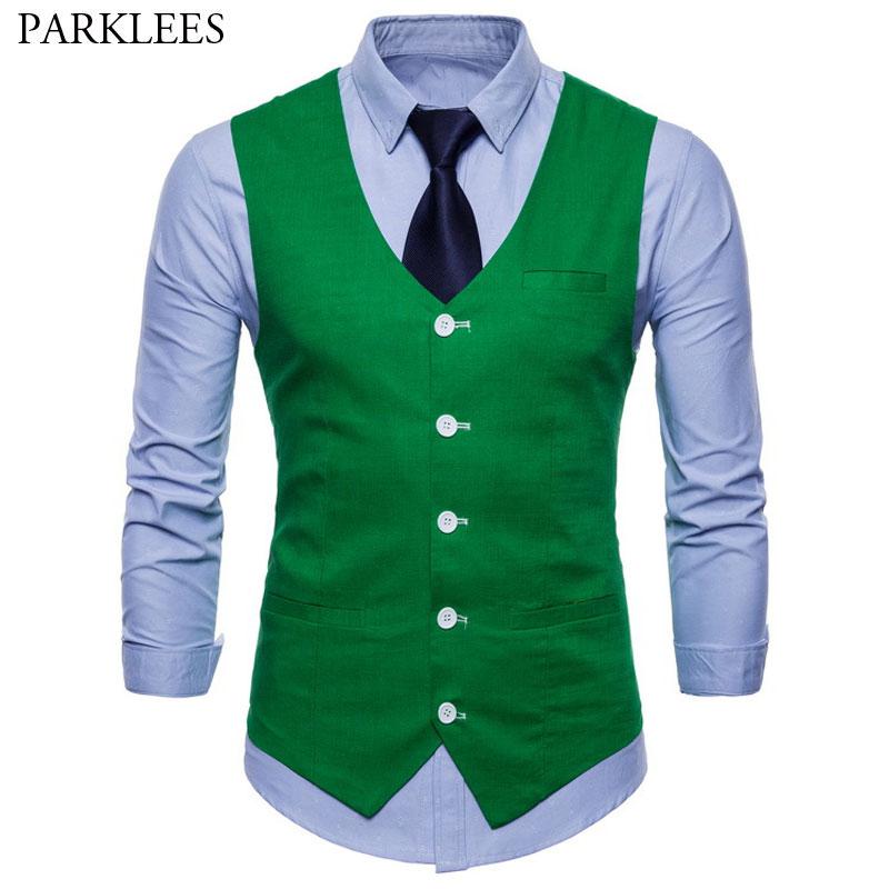 Mens Casual Green Cotton Linen Suit Vest 2020 Spring New 9 Colors Waistcoat Men Business Wedding Dress Vest Waistcoat Male Gilet