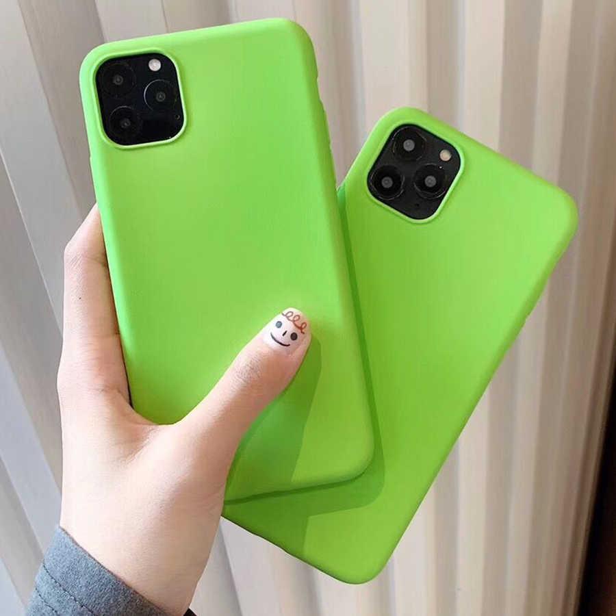 Suyacs Xanh Huỳnh Quang Ốp Lưng Điện Thoại Iphone 11 Pro Max XR XS Max X 7 8 6 6S 6S Plus đồng Màu Matte Mềm Mại Ốp Lưng TPU Coque