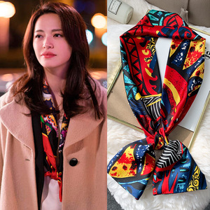 2020 New Women Bubble Silk Scarf Hijab Fashion Wrap Printe Shawls Headband Small Hijabs Pashmina Bandana Foulard Scarves