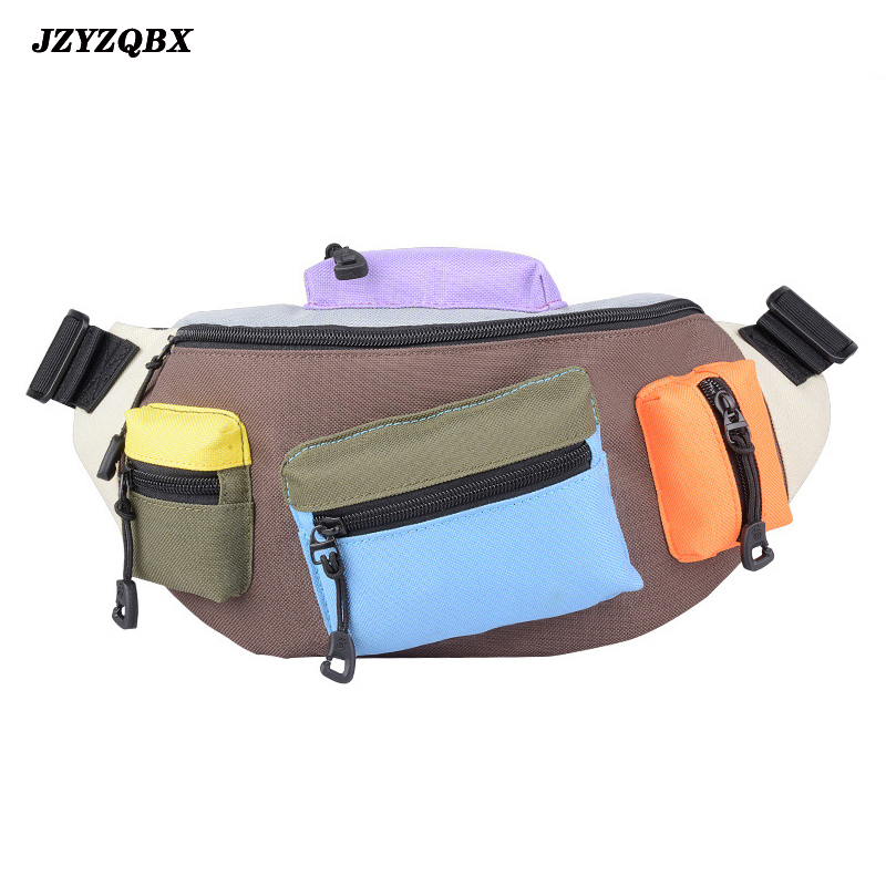 Multiple Pocket Waist Bag Banana Bag Geometry Graphics Waist Pack Outdoor Sports Bag Multi-function Messenger Fanny Pack