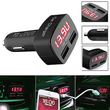 Universal usb carregador de carro dc 5 v 3.1a com tensão/temperatura/medidor de corrente adaptador testador digital display led para smartphone(China)