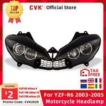 Cvk farol da motocicleta cabeça luz para yamaha yzf 600 r6 2003 2004 2005 YZF-R6 03 04 05 cabeça lâmpada do farol conjunto
