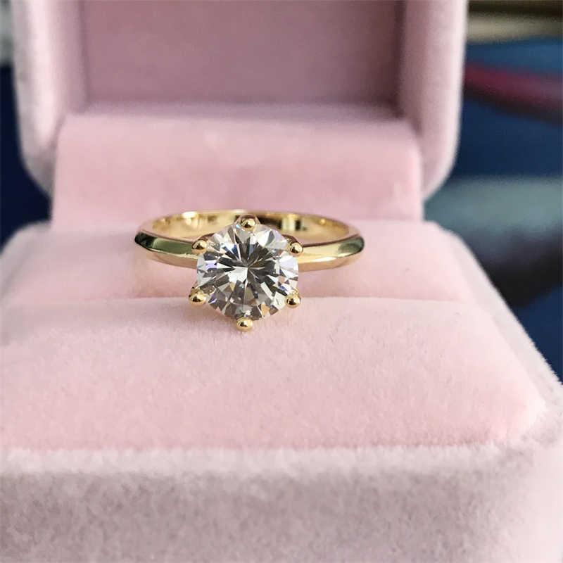 YANHUI Classico 18K Oro Giallo Anello di Colore Argento 925 Anello 2ct SONA Diamante Solitario Anello Engagemen Anniversario di Matrimonio Gioielli