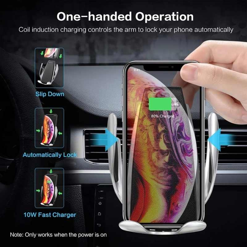 10W Wireless Charger Mobil Sensor Inframerah Otomatis Menjepit Cepat Pengisian untuk Ponsel iPhone X Huawei P30 Pro Smart telepon