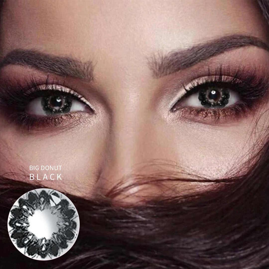 Krótkowzroczność moc optyczna oczy soczewki kontaktowe słodki piękny uczeń kolor duży pączek seria na uroczy kwiat Party Cartoon Girl Makeup
